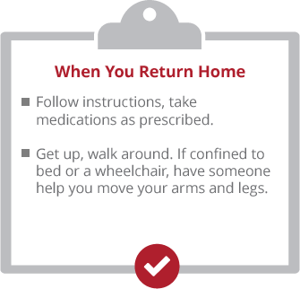 When you return home. Follow instructions, take medications as prescribed. Get up, walk around. If confined to bed or a wheelchair, have someone help you move your arms and legs.