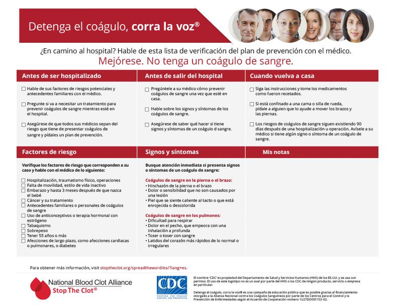 Hable de esta lista de verificación del plan de prevención con el médico