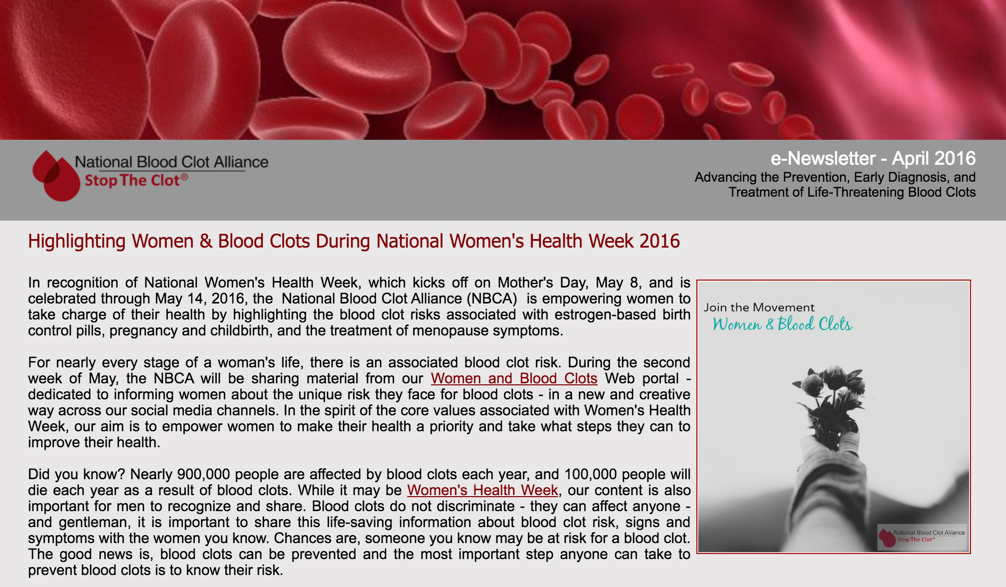 Join the Women & Blood Clots Movement   May e-Newsletter